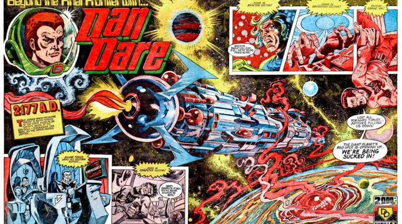 "The opening spread of ""Dan Dare"" from 2000AD Prog 1 back in 1977. Art by Massimo Belardinelli."