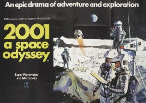 A poster for 2001: A Space Odyssey. Art by Bob McCall.