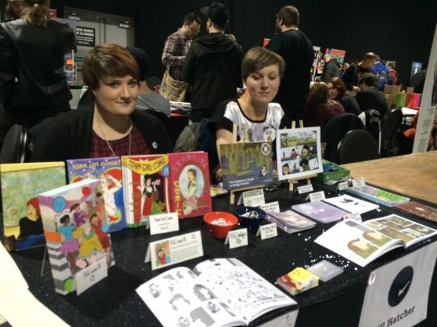 Gill Hatcher and Clare Yvette from Team Girl Comic. Photo: Antony Esmond