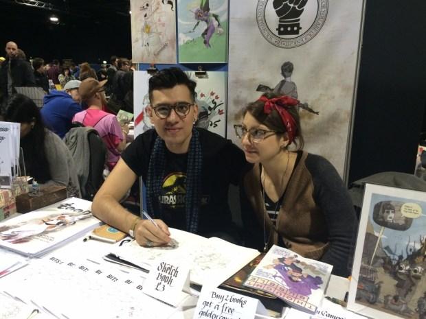 Christian Ortiz and calligrapher Alice Mazzilli. Photo: Antony Esmond