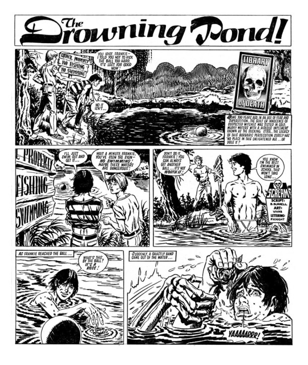 """The Drowning Pond"" written by B. Burrell, drawn by Vivas"