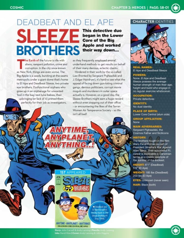 A sneak peek at one page of the Sleeze Brothers page of Marvel Fact Files 97.