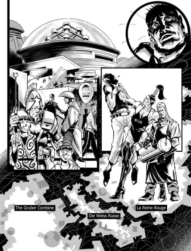 "Jake Lynch's unlettered art for the opening page of ""Orlok: Agent of East-Meg One: Eurozoned"" Episode 3"
