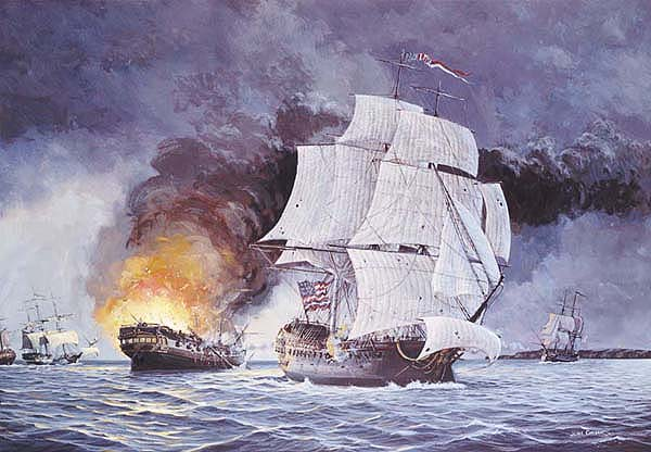 John's painting of the USS Bonhomme Richard, commanded by John Paul Jones at The Battle of Flamborough Head