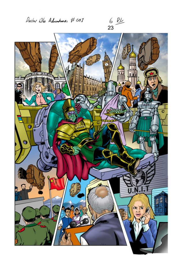 "A page of artwork for Panini UK""s Doctor Who Adventures #1 by Russ Leach"
