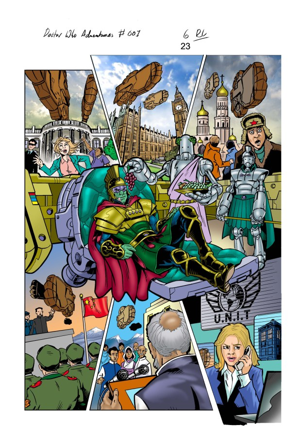 """A page of artwork for Panini UK""""s Doctor Who Adventures #1 by Russ Leach"""