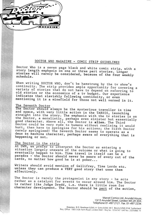 Doctor Who Magazine Submission-Guidelines - May 1990 Page 1