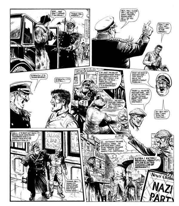 "Constantly acerbic, Pat Mills delivers a final punch to his ""Charley's War"" story with this page set in the 1930s..."