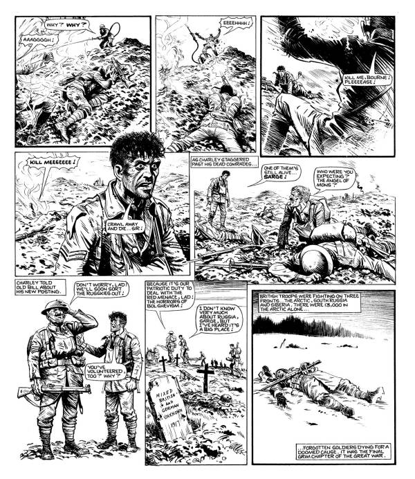 "A grim fate for Captain Snell, Charley's frequent nemesis, on the last day of World War One in ""Charley's War"""