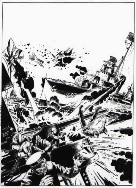 Artwork for one of Glanzman's earlier USS Stevens stories published by DC Comics.
