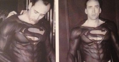 """A costume test for Nicholas Cage during pre-production for the abandoned film, """"Superman Lives""""."""