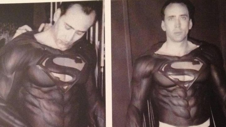 "A costume test for Nicholas Cage during pre-production for the abandoned film, ""Superman Lives""."