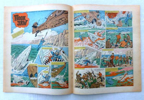 "The opening spread of ""Hookjaw"" from Action Issue 37, offered on eBay in 2015."