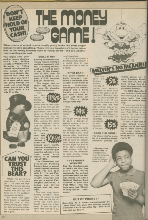 Benny Green, Terry Sue-Patt's alter ego, features in a pocket money feature in Grange Hill Magazine Issue One.