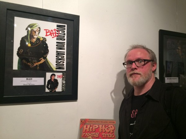 Dean Beattie and his art for the exhibition, inspired by Michael Jackson's BAD.