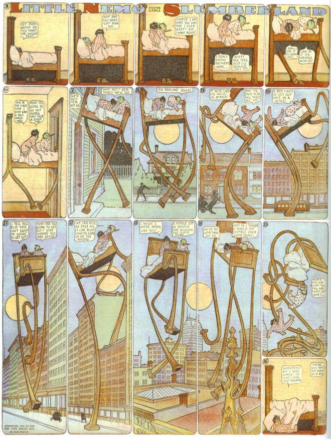 A well-known page of Little Nemo from 1908, in which Nemo's bed sprouts legs and walks through a city.