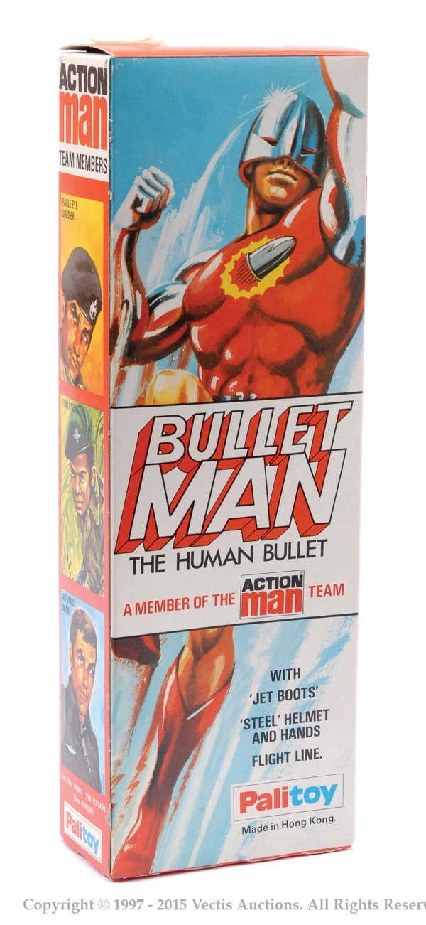 Palitoy Action Man boxed Bullet Man No. 34081. Image: Vectis