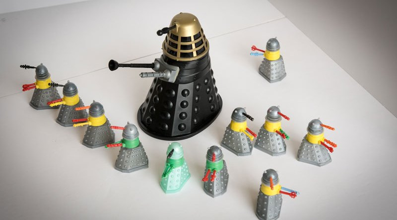 Eleven Dalek Swapits released in 1965 by Cherilea Toys along with a Louis Marx Dalek. The Swapits were exclusive to Woolworth's and originally cost a shilling each.