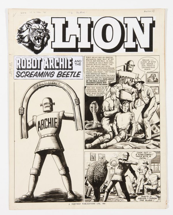 Robot Archie / Lion original cover artwork (1965) by Ted Kearon from Lion 15 May 1965 The title headers are publisher's photocopies (to save them being drawn every week) Indian ink on board,