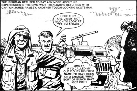 "A panel from the first ""Ramsey's raiders"" story, first published in Commando 3854 in October 2005 and re-presented this month in Commando 4813.  Script by Ferg Handley, Artwork by Keith Page. © DC Thomson"