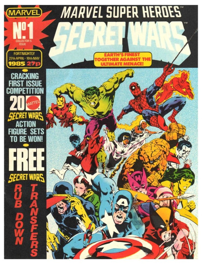 The cover of Marvel UK's Secret Wars reprint, which was launched in April 1985.