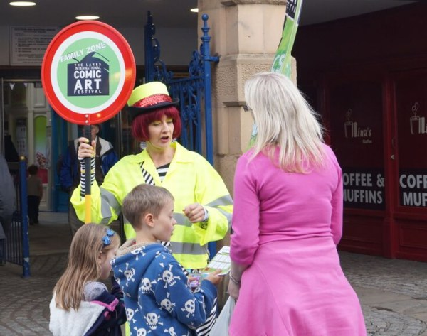 The Comics Warden - helping Lakes International Comic Art Festival goers find the Family Zone last year!