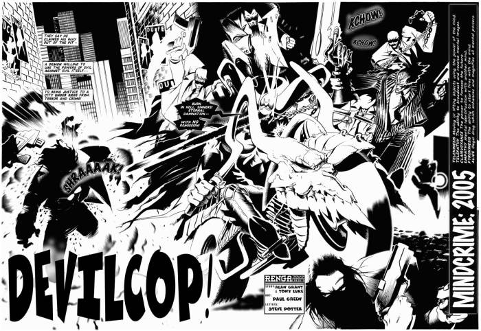 "The opening spread of ""Devil Cop"", written by Alan Grant and Tony Luke, drawn by Paul Green."
