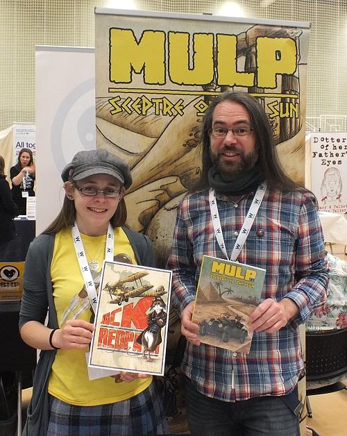 MULP creators Sara Dunkerton and Matt Gibbs show off their work on the Improper Books stall at Wonderlands 2015. Photo: Jeremy Briggs