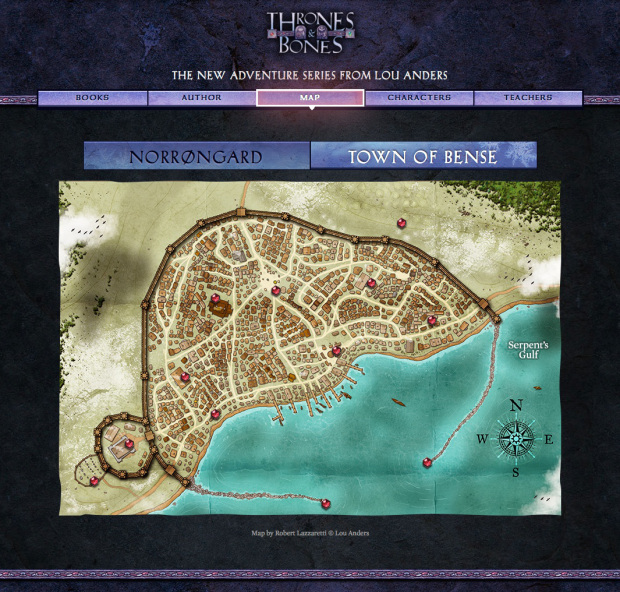 This amazing map of the city of Bense from the novel Frostborn was created by Robert Lazzaretti of D&D and Pathfinder fame.