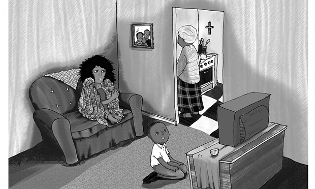 Abike's story about a Nigerian woman trafficked to the UK for sexual exploitation is illustrated by artist Gabi Frödénby and produced by Benjamin Dix