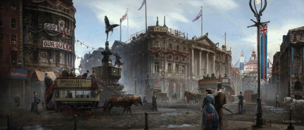 Concept art for the latest Assassin's Creed Game, Assassin's Creed Syndicate, out in October 2015.