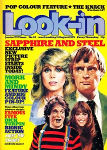 The cover of Look-In, cover dated 11th August 1979, featuring Sapphire and Steel