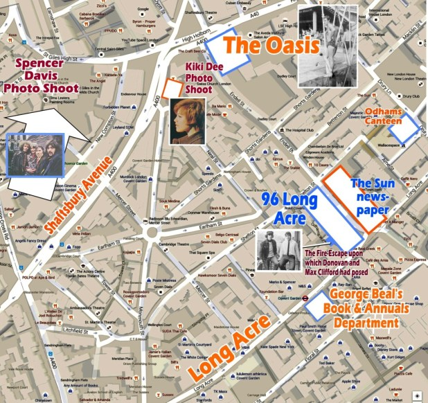 96 Long Acre, and the locations for various photo shoots for Girl and WHAM! Graphic: Roger Perry