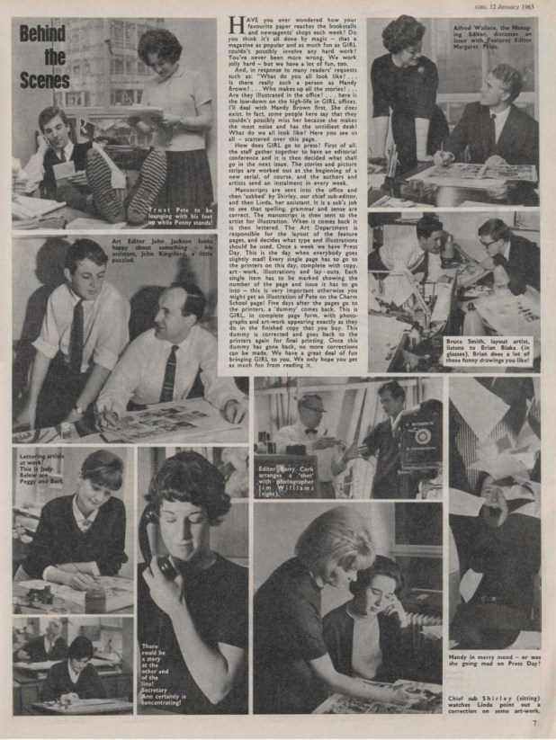 "A ""Behind the Scenes"" feature for Girl published in January 1963."