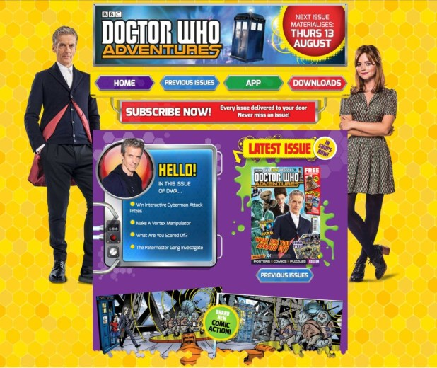 Doctor Who Adventures Offcial Site - Screenshot August 2015