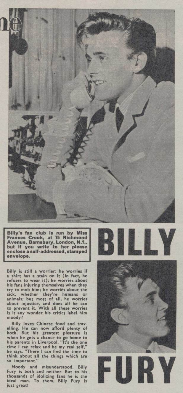 Billy Fury's appearance in Girl's 'Star Time' column, for the issue cover dated 5th October 1963. Please note that the address above is long out of date: for details of Billy Fury Fan Clubs in operation today visit http://www.billyfury.com