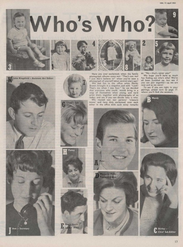 Who's Who at Girl? A revealing article for Girl, published in April 1963
