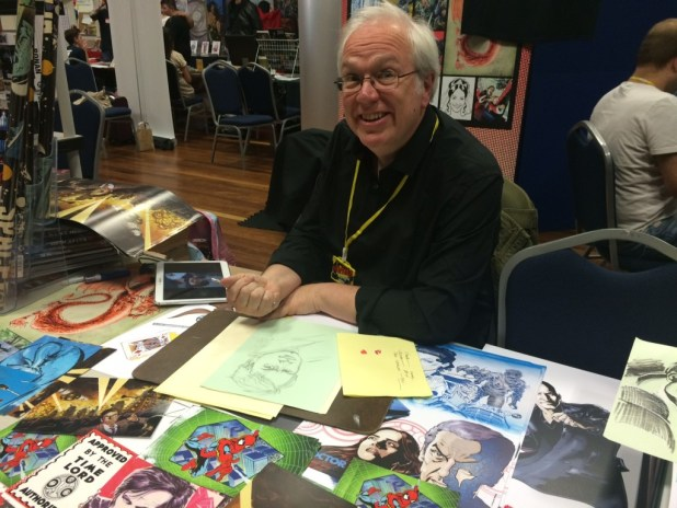 Mike Collins surrounded by his art at Melksham Comic Convention 2015. Photo: Tony Esmond
