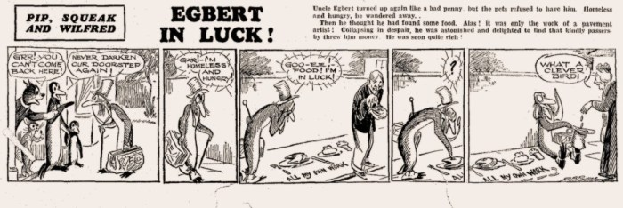 Uncle Egbert, Squeak's wicked relative, takes advantage of an unexpected discovery. © The Daily Mirrror