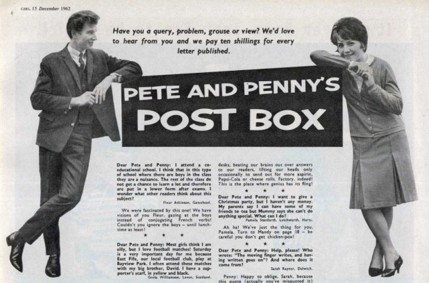 Pete and Penny's Post Box from Girl, cover dated 13th December 1962