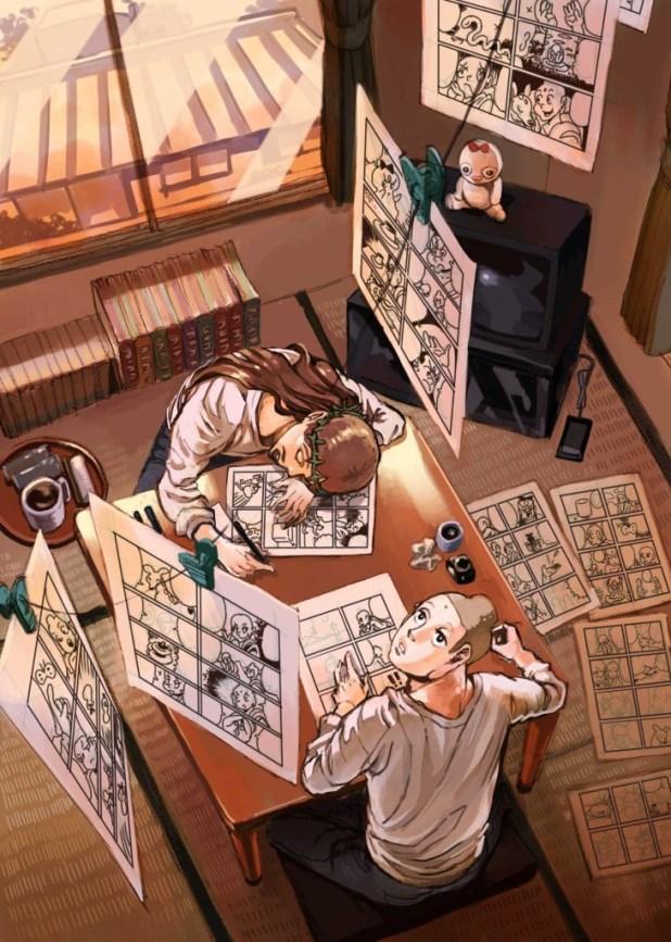Nakamura Hikaru (b. 1984), Jesus and Buddha drawing manga. Cover artwork for Saint Oniisan vol. 10. Digital Print, hand drawn and coloured on computer, 2014. JTI Japanese Acquisition Fund. © Nakamura Hikaru/ Kodansha Ltd