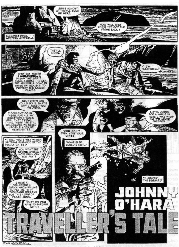 "The opening page of a lost Grant Morrison and John M. Burns story, ""Johnny O'Hara"", intended for a fortnightly comic, Fantastic Adventure, that was dropped in favour of MASK by IPC/Fleetway."