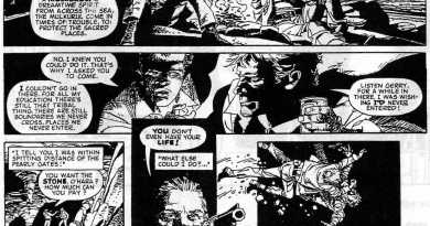 """The opening page of a lost Grant Morrison and John M. Burns story, """"Johnny O'Hara"""", intended for a fortnightly comic, Fantastic Adventure, that was dropped in favour of MASK by IPC/Fleetway."""