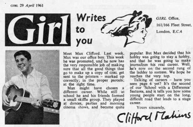 Flashback: Clifford Makins announces the arrival of Max Clifford on the GIRL staff, in the issue dated 13th April 1961.