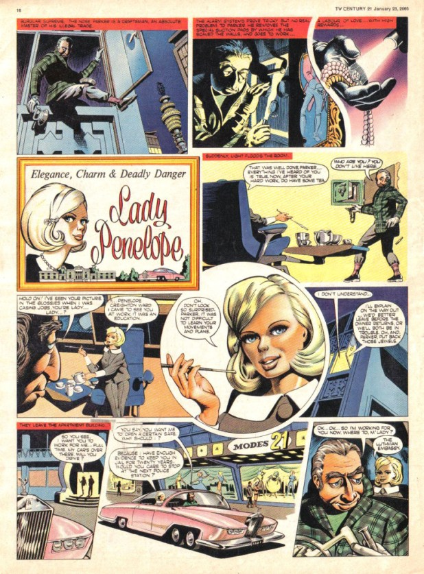 """A page from the first episode of the """"Lady Penelope"""" strip"""" in TV Century 21 Issue One"""
