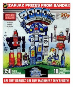 The Robo Machines first appeared in comics on the cover of 2000AD Prog 329, promoting a competition from Bandai. Cover by Kevin O'Neill.