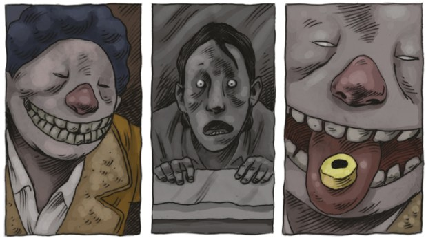 Creeped out yet? Art from the graphic novel Klaxon by Si Spencer and DIX, published by SelfMadeHero