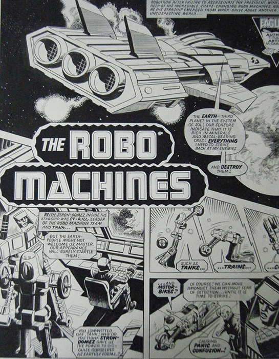 A page from Robo Machines featured in the exhibition.