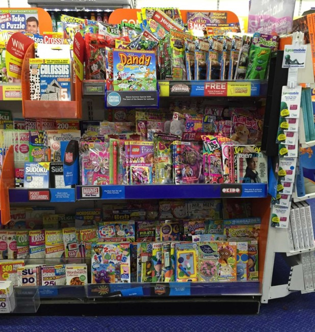 WH Smiths Lancaster's children's comics and magazine section, 29th September 2015.