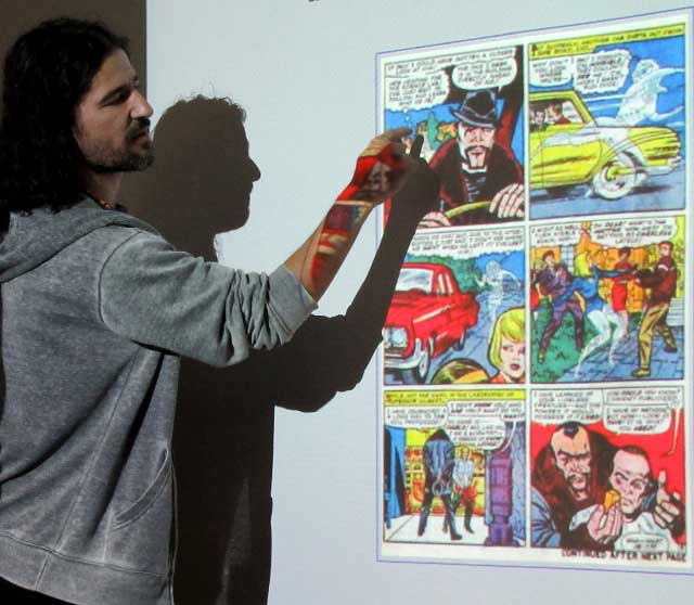 Frank Santoro lectures on the geometry of comics at the University of Cumbria. Photo courtesy Nick Dodds